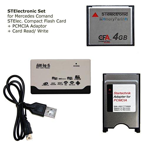 STElectronic 4 GB Set für Mercedes COMAND APS NTG 3 NTG 4 Code 527 513 mit Speicherkarte Compactflash 4 GB, USB Lese- & Schreibergerät und PCMCIA Adapter mit PCMCIA Schacht - Set 4GB