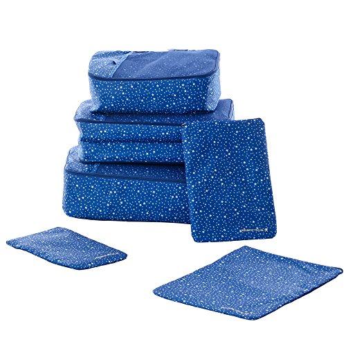 Koffer Organizer | Shopper Joy Reise Kleidertaschen Set 6 Teilig | 3 Packing Cubes + 3 Laundry Pouches Kosmetiktaschen für Damen Herren auf Urlaub Camping Aufenthalt - Dunkelblau + Sterne