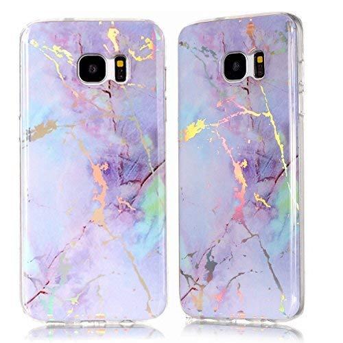 dge Schutzhülle, 3D Glänzend Marmor Glitter Ultra Dünne Slim Back Haut Full Body Schutzhülle Weich TPU Gummi Bumper Case Handy-Cover für Samsung Galaxy S7Edge rosa/Purpur ()