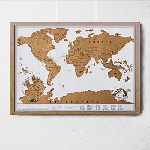Wisdom mini versione del mondo mappa viaggio nota raschiatura mappa graffi mappa d'oro record strumento di apprendimento dipinti, 41 * 29cm