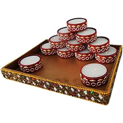 candela decorativa stare antico materiale di alluminio in stile artigianale portacandele perline Diya stare rosso serie d
