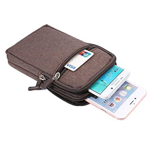 DFV mobile - Etui Universellen Schutzhülle Vielgebrauch mit Fächer, Reißverschluss, Schlaufe für Gürtel und Karabiner Haken für=> ALLVIEW A9 LITE > Braun (17 x 10.5 cm)
