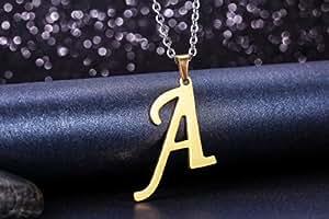 """JewelryWe Gioielli collana con pendente da uomo donna acciaio inox Nome Lettera iniziale ciondolo catenina lunga 21.65""""(A)"""