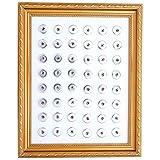 Morella Damen Click-Button Sammel Pad weiß in Bilderrahmen gold zur Aufbewahrung für 48 Buttons Ø 18 - 20 mm