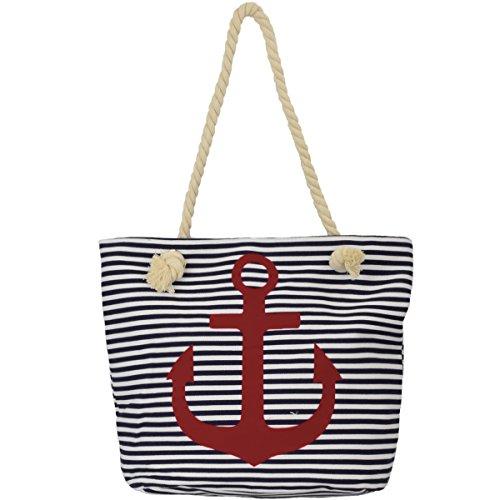 Sonia Originelli Shopper Strandtasche Kordel Seil Streifen Anker Anchor Maritim T021-AN-RV (Marine-pink)