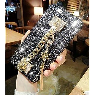 Kompatibel mit iPhone 8 Plus/7 Plus Hülle,[Schneeflocken Quasten Anhänger] Handschlaufe Glänzend Glitzer Bling Diamant Strass Rhinestone TPU Silikon Hülle Hard Schutzhülle für iPhone 8 Plus/7 Plus