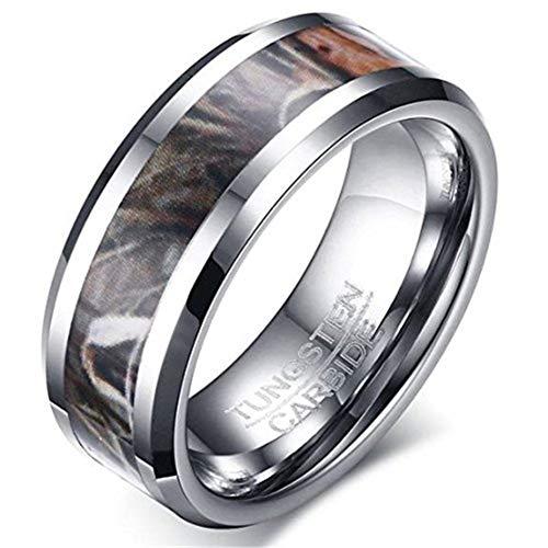 metall Ring Silber Camouflage Jagd Camouflage Sport Fashion Hochzeits Verpflichtungs Band ()