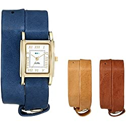 La Mer Interchangeable Leather Strap Armbanduhr - Set of 3 - Damen Royal/Tobacco/Camel One Size
