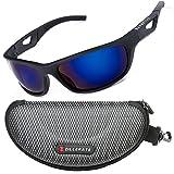 ZILLERATE Polarisierte Sonnenbrille für Herren und Damen, UV Schutz, Leichter Unzerbrechlicher Rahmen, zum Radfahren Skifahren Autofahren Fischen Laufen Wandern Sport, Etui und Brillenbänder, Blau
