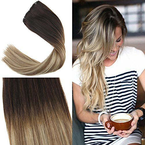 YoungSee 100% Remy Echthaar Extensions Clip 55 cm Balayage Braun mit Blond Gute Qualität Clip in Extensions Echthaar für Komplette Dickes Haare 7Pcs/120g