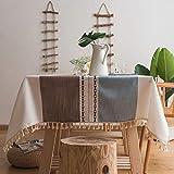Deggodech Simple Nappe Rectangulaire Anti Tache Tissu avec Tassel Nappe de Table Lavable Coton Lin Moderne pour Décoration de Table de Cuisine (Gris Bleu, 140 * 200cm/55 * 79inch)