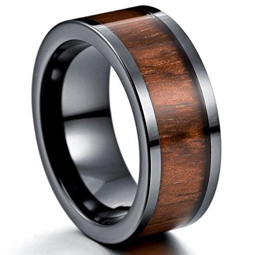 MunkiMix 9mm Keramik Porzellan Holz Band Ring Braun Bequeme Passform Hochzeit Engagement Verlobungsringe Größe 57 (18.1) Herren
