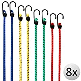 Deuba® Set 8 Corde elastiche corde valigia Expander | Diverse lunghezze | ganci in acciaio resistenti | 4 dimensioni 40 - 100 cm | resistente e durevole | elastici bagagli |