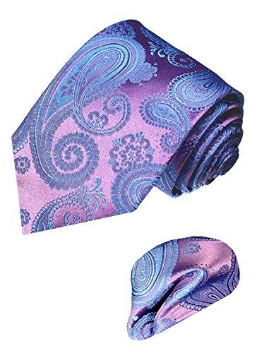 LORENZO CANA - Marken Set aus 100% Seide - Krawatte und Einstecktuch - lila violett blau Paisley Schlips - 8416802 (Karo-paisley-krawatte)