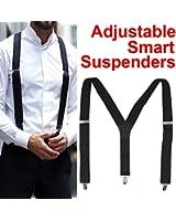 SWT Adjustable Smart Unisex Men Ladies Braces Plain Suspenders 35mm Black