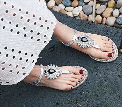 YEEY Donné s Boho stile rotondo peep clip toe tacco piatto strass t-strap Boemia romana sandali vera pelle estate spiaggia post sandali infradito scarpe infradito Silver
