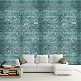Loaizh 3D Tapete Wandbild Wandaufkleber Wallpaper Hellblauer Kundenspezifischer Hölzerner Blauer Smiley Hand Painted Embossed Tv Background Dekoration 300Cmx200Cm