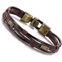 Moda Wowl de múltiples capas pulseras genuina de la cuerda de cuero para hombre, niños regalo de cumpleaños