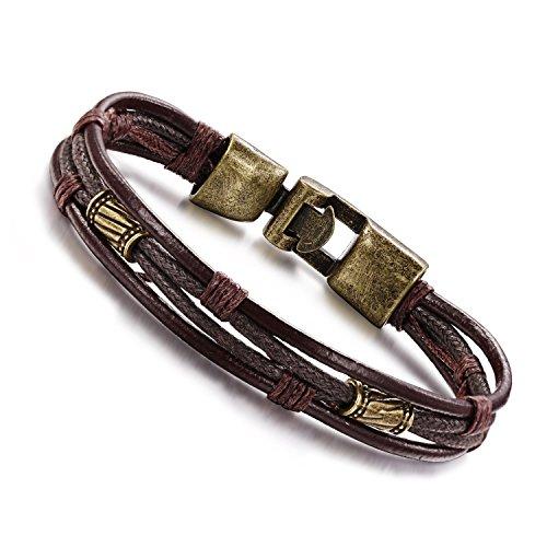 Moda Wowl de múltiples capas pulseras genuina de la cuerda de cuero p