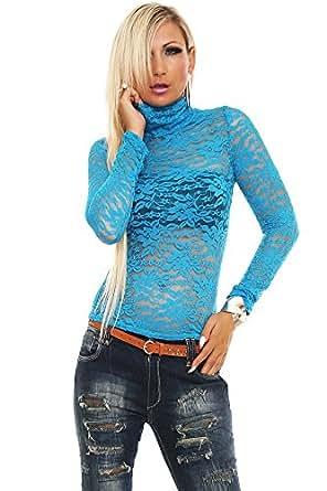 10131 Fashion4Young Damen Langarm-Shirt mit Rollkragen aus Spitze verfügbar in 11 Farben Gr. 36/38 (36/38, Blau)