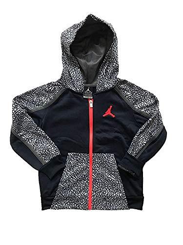 Toddler Full Zip Hoodie (Nike Youth/Toddler Boys Air Jordan Therma Fit Full Zip Hoodie/Hooded Jacket (4/96~104CM/3~4 Yrs/Youth XS, Black/Grey/Red Logo))