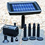 Bomba de estanque solar con batería de respaldo - 2W 70cm Kit de fuente para la característica de agua, cascada, estanque de jardín por PK Verde