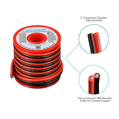 BNTECHGO 14 Gauge Flexible 2 Conductor Parallel Silicone Wire Spool Red Black High Resistant 200 deg C 600V for Single Color LED Strip Extension Cable Cord,model,lead wire 20ft Stranded Copper Wire -
