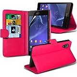 Fone-Case ( Hot Pink ) Sony Xperia Z2 Leder Flip Mappen-Standplatz-Fall-Haut-Abdeckung mit Display Schutzfolie