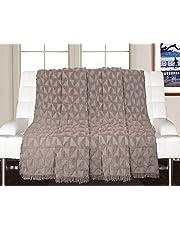 Saral Home Soft Cotton Unique Firki Design Tufted Throw/ Sofacover (Grey, 140x160cm)