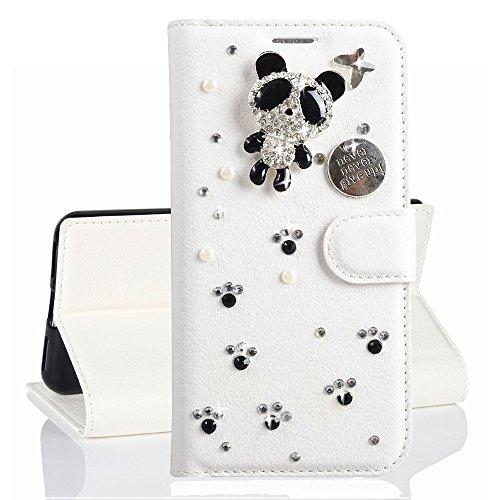 HongHushop 3D Bling Strass Glitter PU Leder Handyhülle für Galaxy S10 Plus Spiegel Diamant Schnalle Hülle [Kartenslots] [Magnetverschluss] Schutzhülle für Samsung Galaxy S10 Plus - Panda Strass-panda