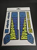 ECOSHIRT PG 55Aufkleber Stickers Fork Rock Shox Pike Sid Yari Lyrik Boxxer 2018Aufkleber Decals autocollants ADESIVI forcela Gabel Troy Lee Desings, Gelb-blau
