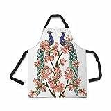 InterestPrint Schürze für Damen, Herren, Mädchen, Koch mit Taschen, schöne Blume, Motiv Pfau, japanische Blume, verstellbar, für Küche zum Kochen, Backen, Garten