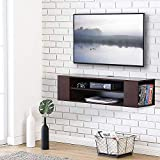 Fitueyes TV Board Lowboard Hängeschrank Wohnwand Mediawand 100x30x26cm holz Walnuss Farbe DS210001WBUK