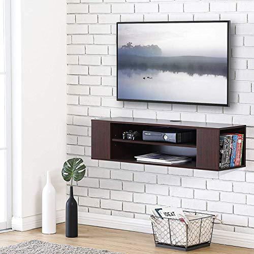 FITUEYES Madera Grano Mesa Flotante para TV Mueble para Audio Video 100x30cm Color Nogal DS210001WB