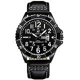 Nedifon Herren-Armbanduhr, schwarzes Zifferblatt, Herren-Armbanduhr, Leder-Armbanduhr, schwarz, einfache Herren-Geschäftsuhr