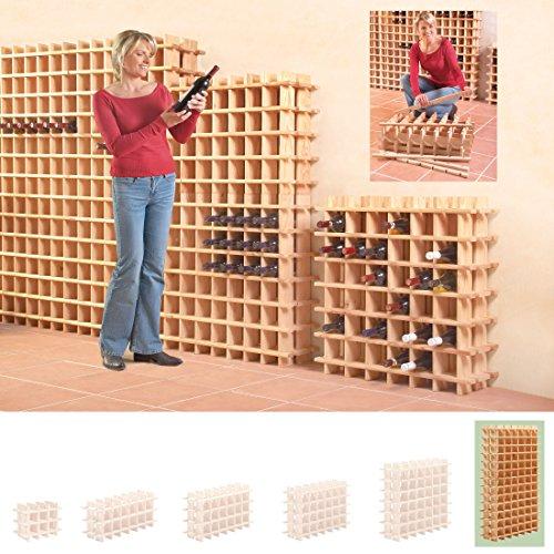 Modulares Weinregal System PRIMAVINO, für 78 Fl., Holz Kiefer natur, stapelbar / erweiterbar - H 150 x B 75 x T 22 cm