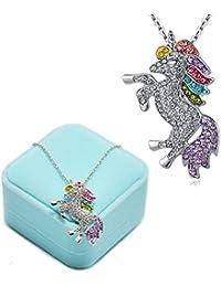 Binoster Fashion Unicorn Pendant Necklace Bracelets- Rainbow Crystal Unicorn Necklace Bracelets For Girls - Unicorn Rainbow Necklace Bracelets (Unicorn Necklace)