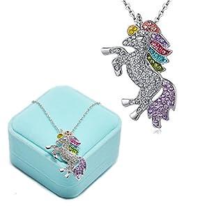 Einhorn Kette, Elegante Einhorn Halskette Anhänger Kette Armbänder für Damen Mädchen Anhänger Einhorn in Geschenkbox