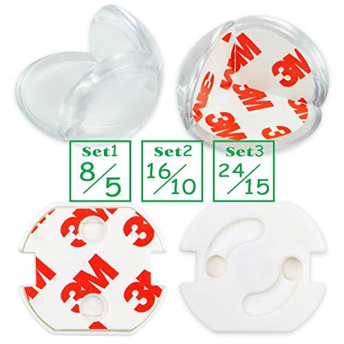 Baby Babys Kinder Kantenschutz Set Kindersicherung Tisch Möbel Eckenschutz (8 Corner+ 5 Steckdosenschutz)