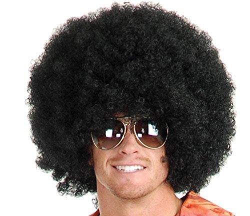 United States of Oh My Gosh Afro Perücke - Short Fluffy Afro-Perücken hitzebeständige synthetische Unisex Männer Frauen Cosplay Anime Fancy Funny Perücke für Partei Einheitsgröße Schwarz