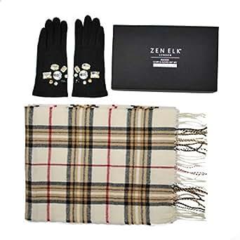 Women's Wool Glove & Check Pattern Scarf Gift Set (Black/Cream)