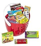 Polly Kaufladen Zubehör Set Roter Einkaufskorb gefüllt mit Miniaturen | Kinder Spielzeug für den Kaufmannsladen | Kinderkaufladen