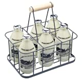 from KitchenCraft KitchenCraft Living Nostalgia Wire Metal Milk Crate/Bottle Carrier, 29 x 20 x 13 cm - Grey Model LNBCARRIER