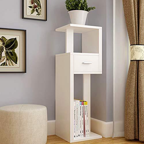 Shelves ZR Mehrschichtiges Bücherregal, Holz, Blumenständer, multifunktionales Gestell, für den Innenbereich, Wanddekoration weiß