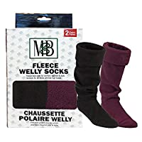 Moneysworth & Best Fleece Welly Socks - Black/Ruby - Pack of 2 - Size Large