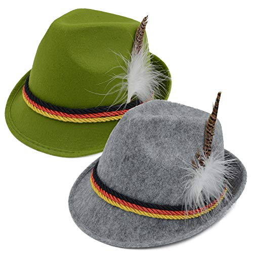 Melesh Oktoberfest deutsch Bayern Hut - Grau - - Alpine Boy Kostüm