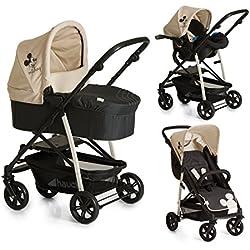 Hauck Rapid 4 Plus Trio Set - Coche de bebes 3 piezas de capazo, sillita y Grupo 0+ para recién nacidos hasta bebes/niños de 15 kg, respaldo reclinable, plegable, Mickey Charcoal