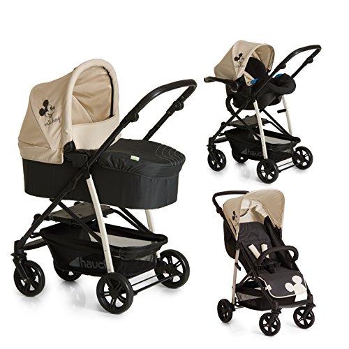 Hauck Rapid 4 Plus Trio Set - Coche de bebes 3 piezas de capazo, sillita y Grupo 0+ para recién nacidos hasta bebes/niños de 15 kg, respaldo reclinable, plegable, estampado Disney