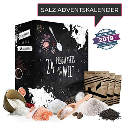 Salz-Adventskalender mit 24 delikaten naturbelassenen Natursalzen ausgefallenes Geschenkset Ursalzen aus aller Welt für die Weihnachtszeit Adventszeit