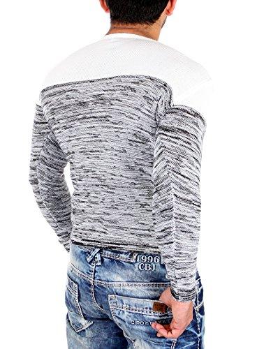 Reslad Strickpullover Herren-Pullover Melange Colorblock Rundhals Strick-Pulli RS-3124 Ecru